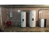 Установка внутреннего и наружного блока теплового насоса (воздух вода) сплит системы